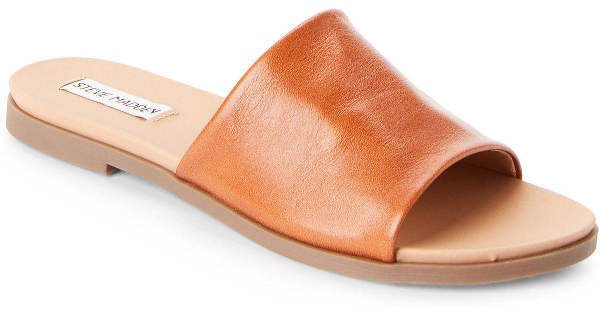 f6b1c04353b Lyst - Steve Madden Cognac Karolyn Flat Slide Sandals in Brown