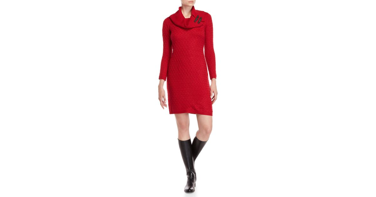 12c467bb4d7 Sandra Darren Red Cable Knit Sweater Dress in Red - Lyst