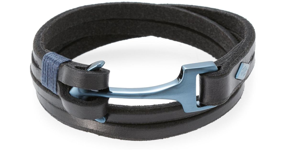 8e722ca794a8b9 Fossil Black & Blue Leather Anchor Bracelet in Black for Men - Lyst