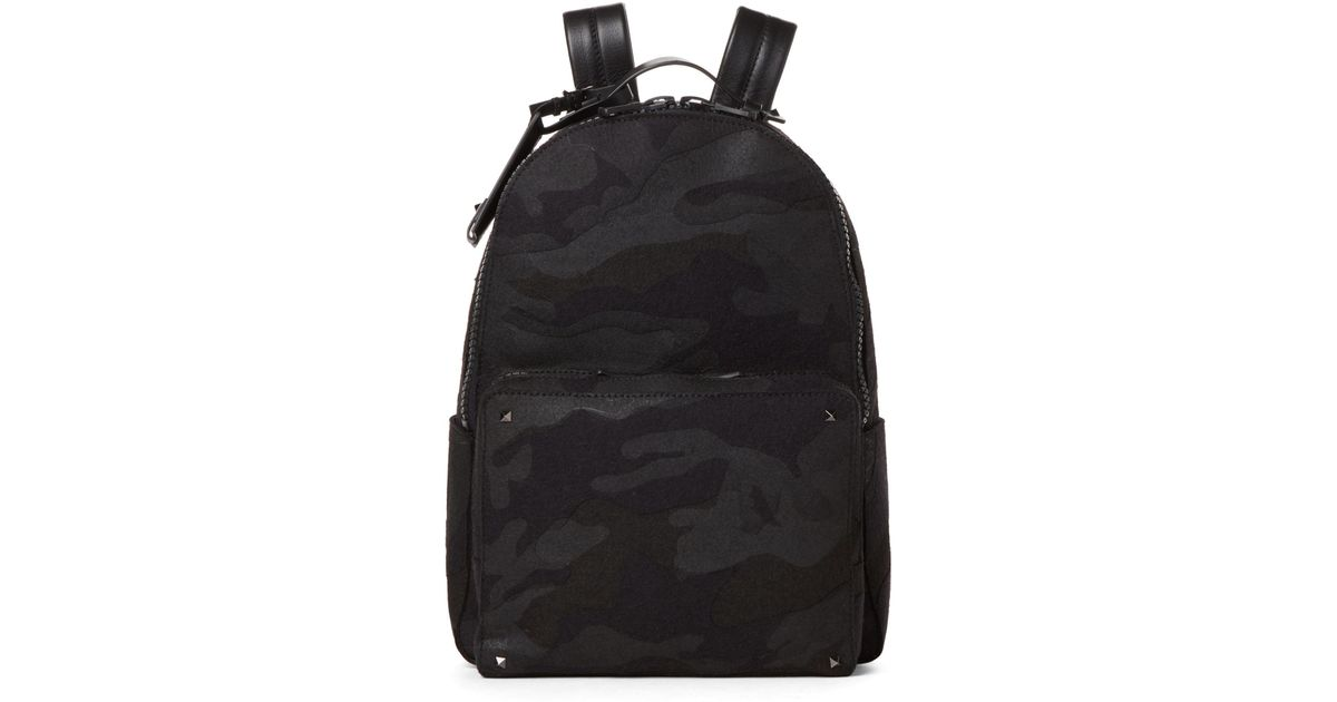 Lyst - Valentino Camo Rockstud Classic Backpack in Black for Men a369b93aeefac