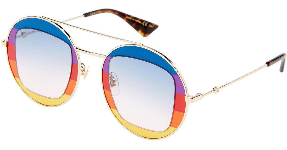 cb0863af7697c Gucci Gg0105 s Gold-tone Rainbow Round Sunglasses in Blue - Lyst