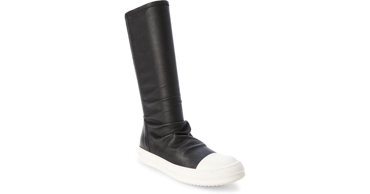 f2b2678369d Lyst - Rick Owens Black   Milk Leather Sock Boots in Black