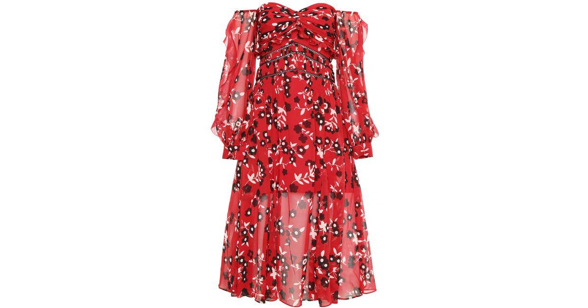 586bee3c76c6 Self-Portrait Floral Print Midi Dress in Red - Lyst