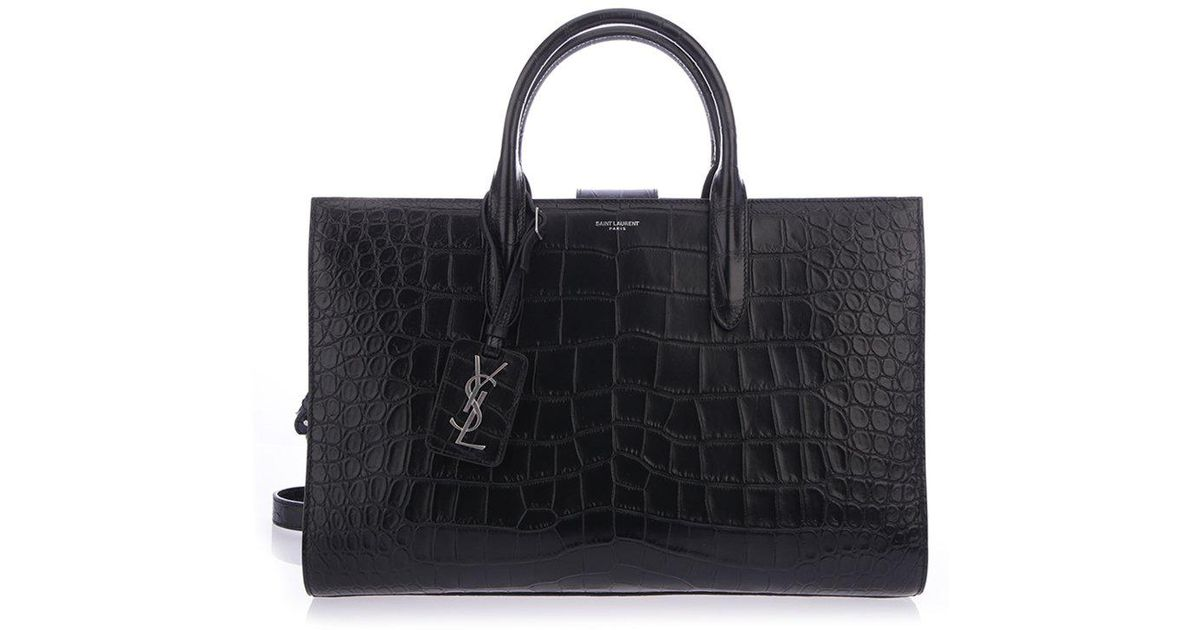 a088b1bc023a Saint Laurent Croc Embossed Tote in Black - Lyst