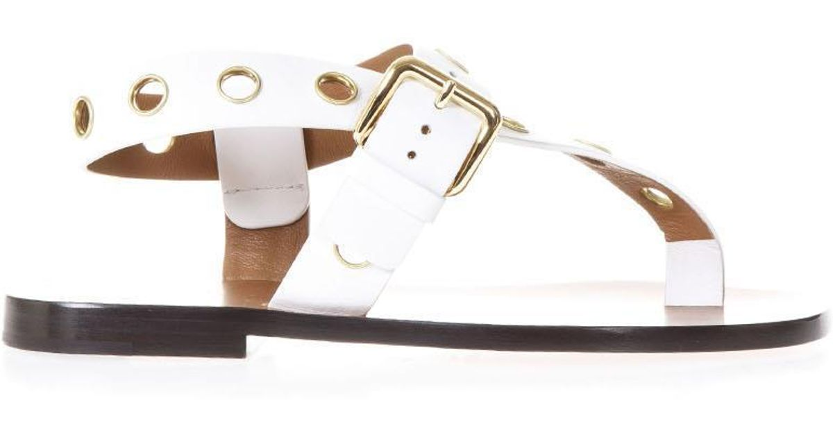 Resort Eyelet Céline White Lyst Sandals LRq35Aj4
