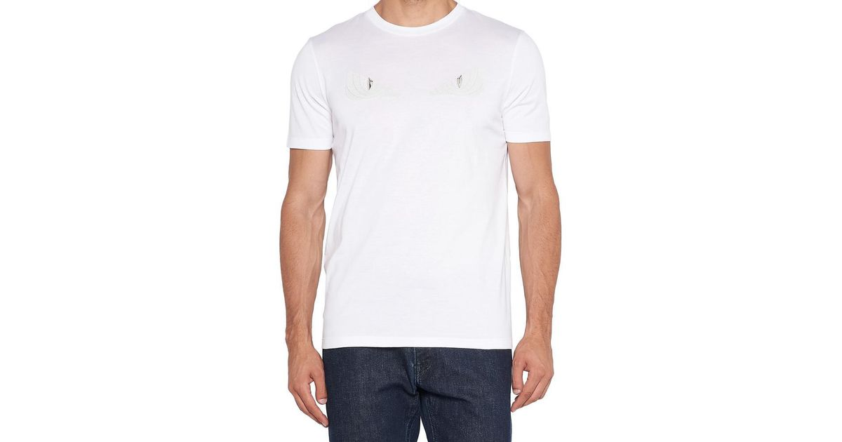 25a7f49a4 Lyst - Fendi Studded Bag Bugs T-shirt in White for Men
