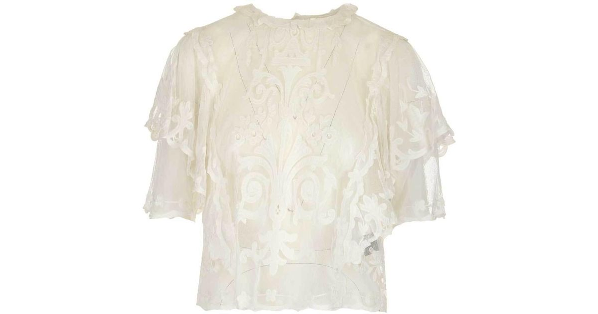 7a935e884c0 Isabel Marant Layered Lace Blouse in White - Lyst