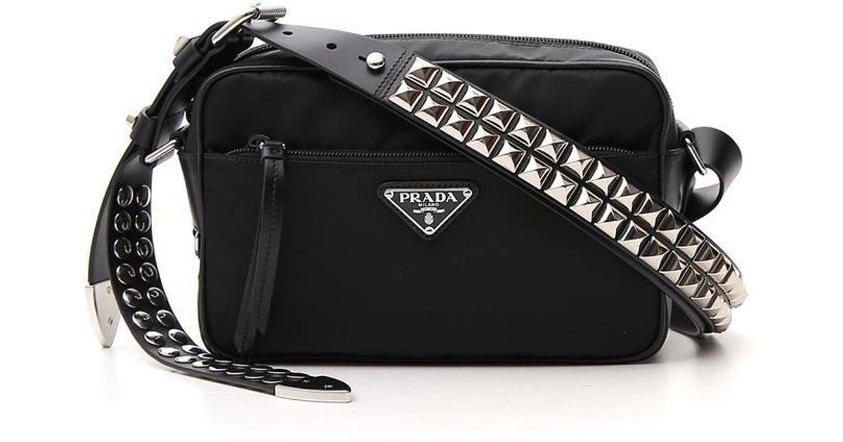 4e4fef1b20a9 Prada Studded Strap Shoulder Bag in Black - Lyst