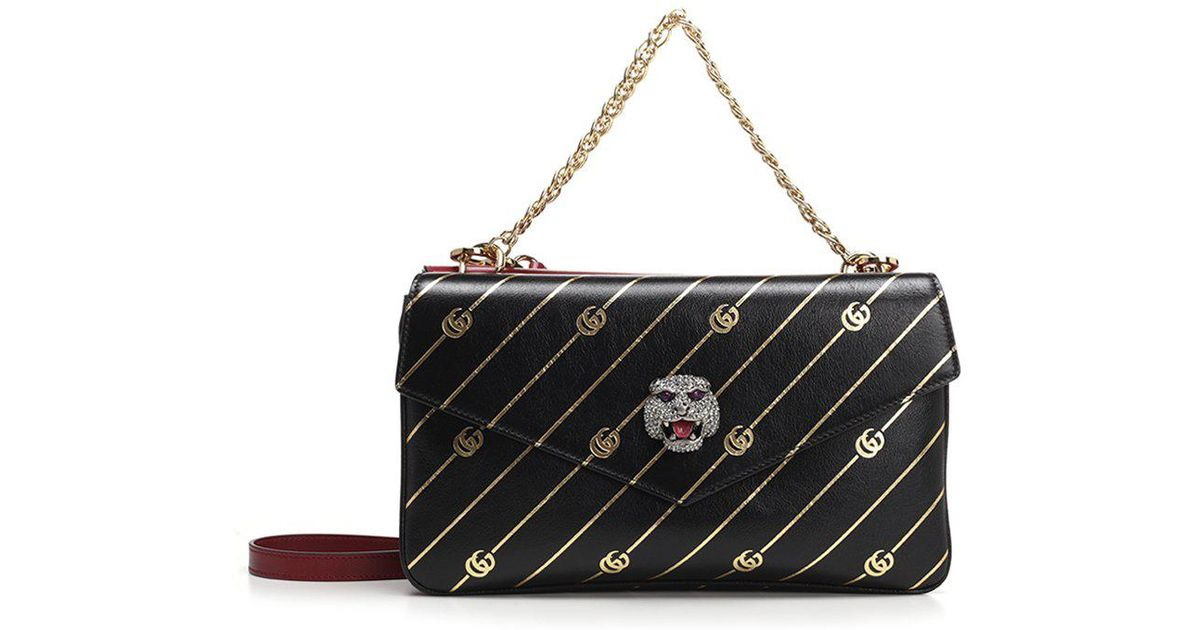 32f4eedd22f Gucci Medium Double Shoulder Bag in Black - Lyst