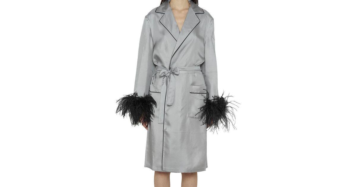 04749507c95a8 Prada Feather Cuff Silk Kimono in Gray - Lyst