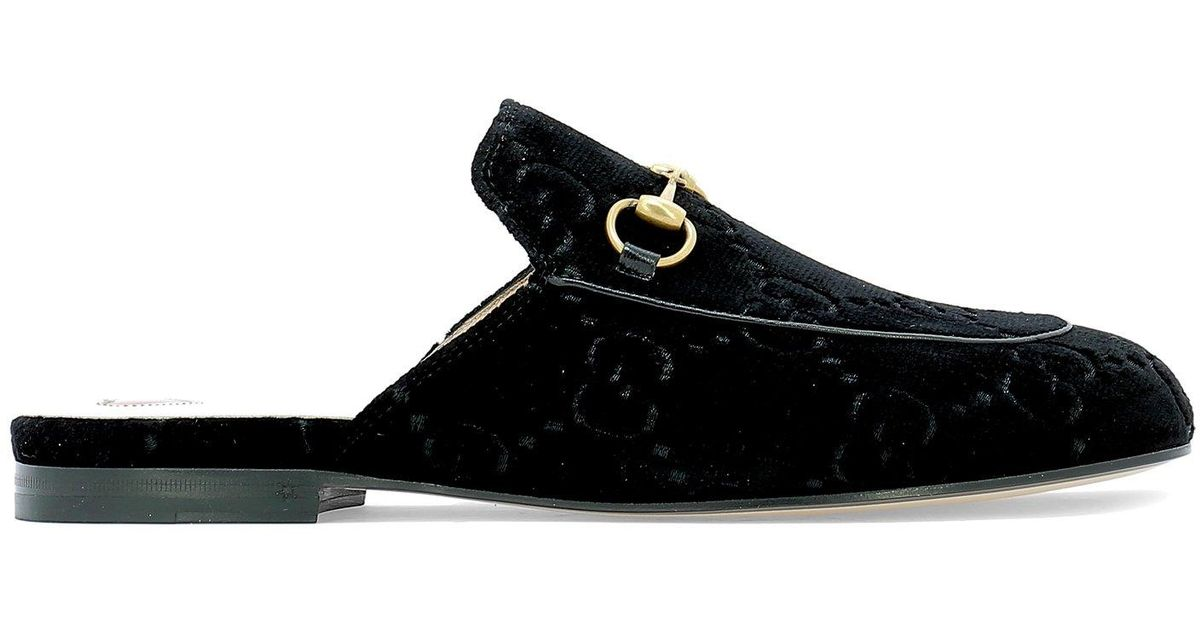 b8432324983 Lyst - Gucci Princetown Velvet Mules in Black