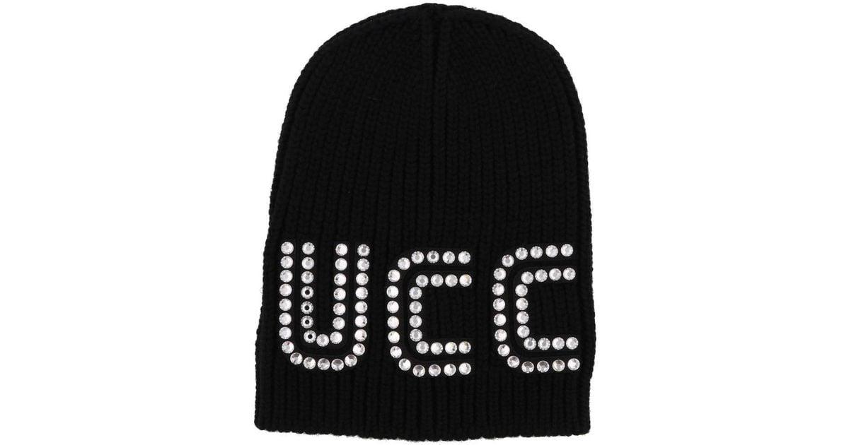 Lyst - Gucci Game Guccy Rib-knit Wool Beanie in Black - Save 56% b6dd48c075db