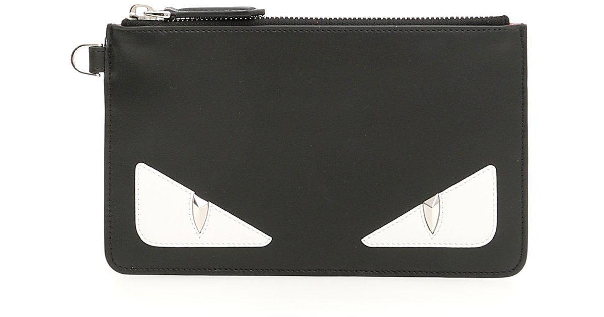 c2313e86e97c Fendi Bag Bugs Top Zip Pouch in Black - Lyst