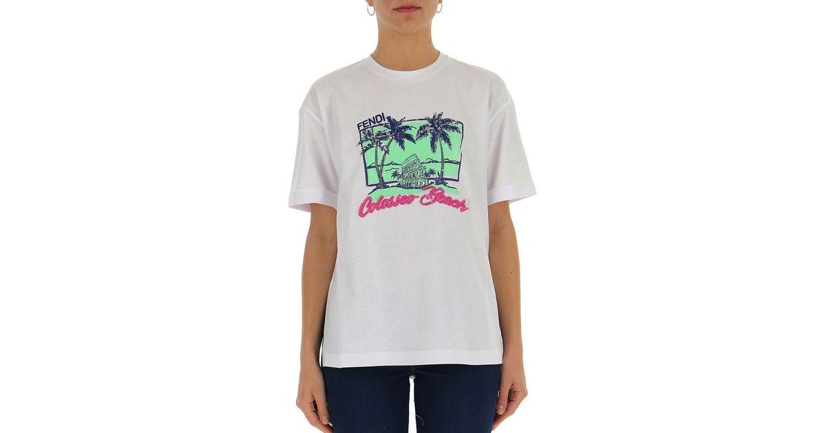 3ba749b5a Lyst - Fendi Beach Print T-shirt in White