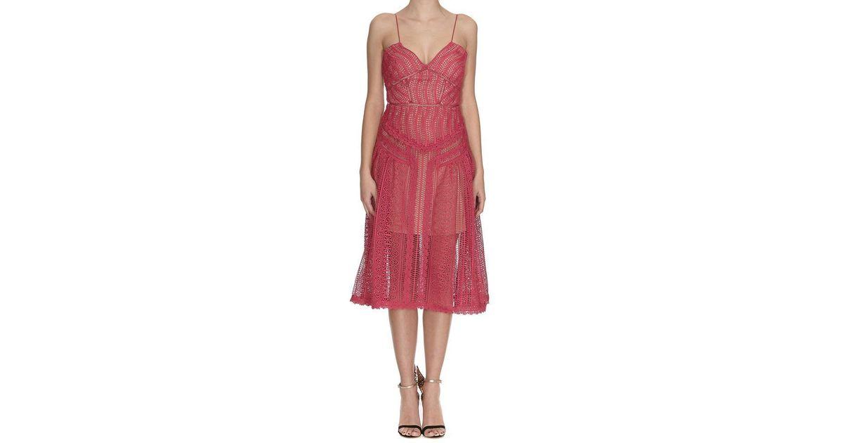 222c8987a29b Lyst - Self-Portrait Sheer Lace Dress in Pink