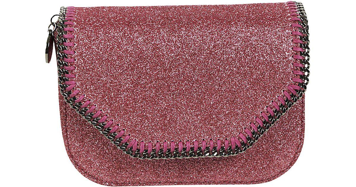 8f67c59ba8 Stella McCartney Glitter Falabella Crossbody Bag in Pink - Lyst