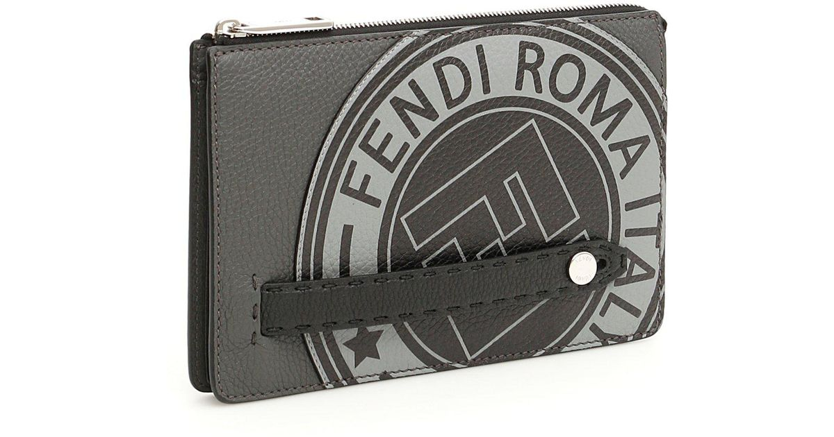 469a04be87 Fendi Logo Clutch Bag in Gray - Lyst