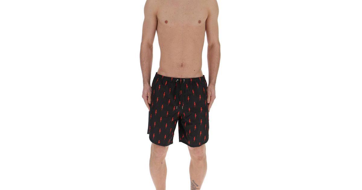 a44d9d98b7279 Lyst - Neil Barrett All Over Lightning Bolt Print Swim Trunks in Black for  Men