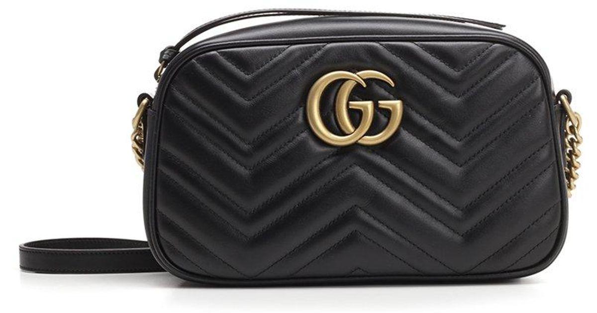 37746db31e3f3f Gucci GG Marmont Matelassé Shoulder Bag in Black - Lyst
