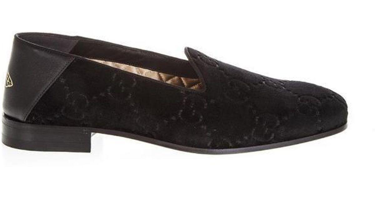 854b279f2bc Lyst - Gucci Velvet Monogram Loafers in Black for Men