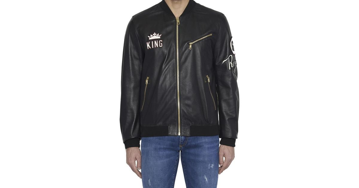 29ed4b028947 Dolce & Gabbana King Patch Bomber Jacket in Black for Men - Lyst