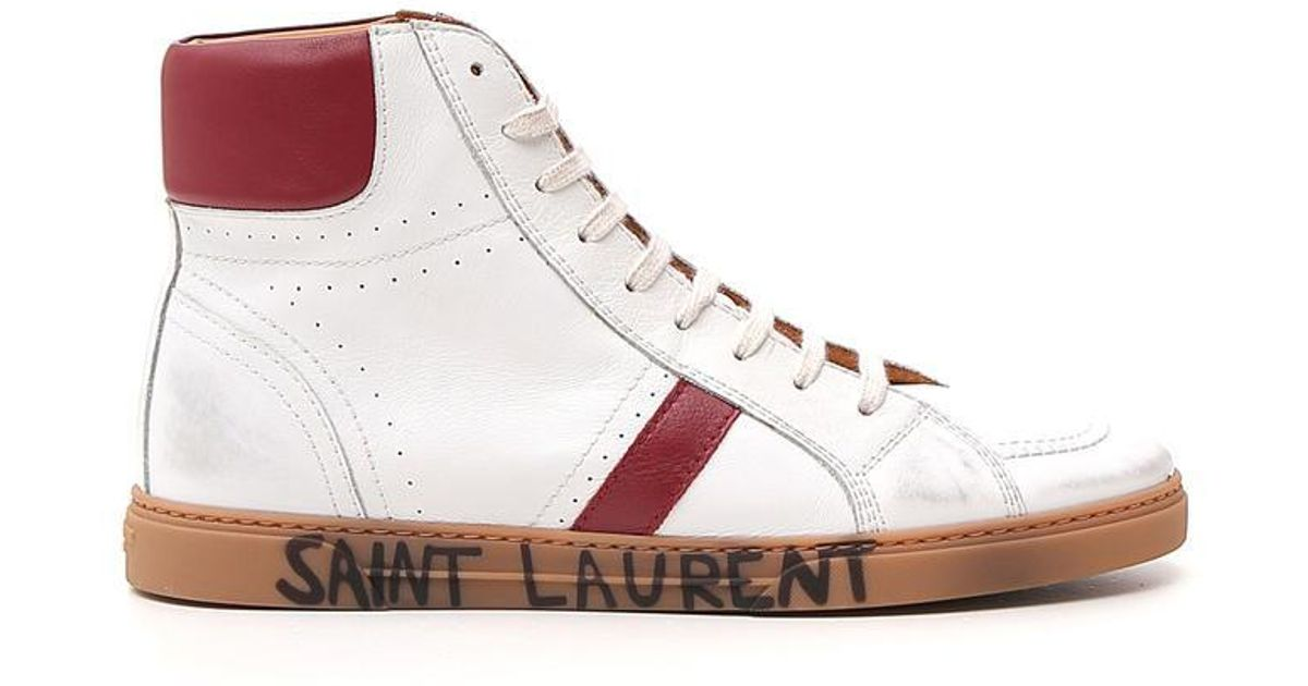 7dd9105f0c6 Saint Laurent Logo Label Lace-up Sneakers in White for Men - Lyst