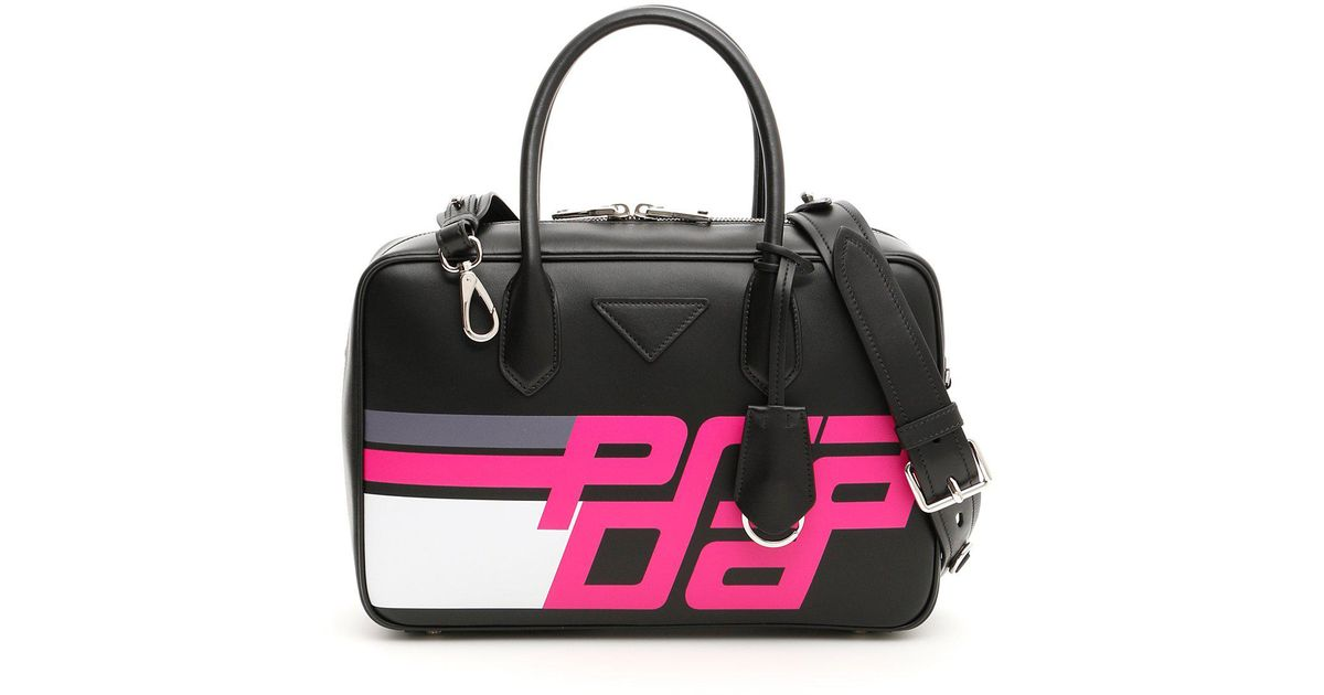 1fbb6709b8 Lyst - Prada Logo Print Bowling Bag in Black