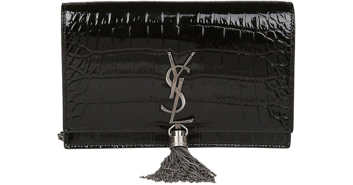 Lyst - Saint Laurent Small Kate Monogram Tassel Crossbody Bag in Black b2a5f4db07afe