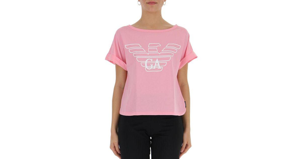 6be4ffbd Lyst - Giorgio Armani Logo T-shirt in Pink