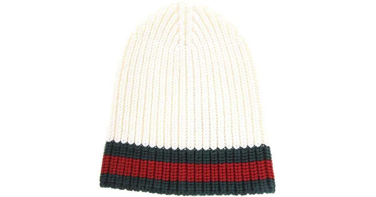 fccedb276a5d7 Lyst - Gucci Cable Knit Beanie Hat in White for Men