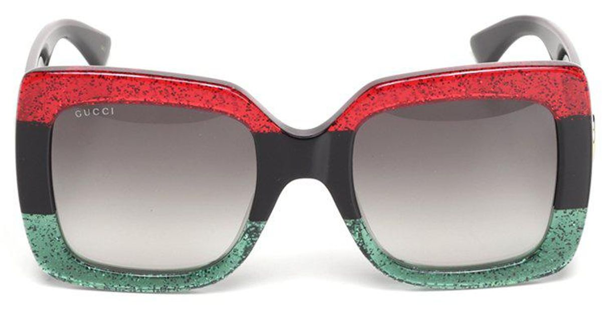 29120cda84a Gucci Square Striped Sunglasses in Red - Lyst