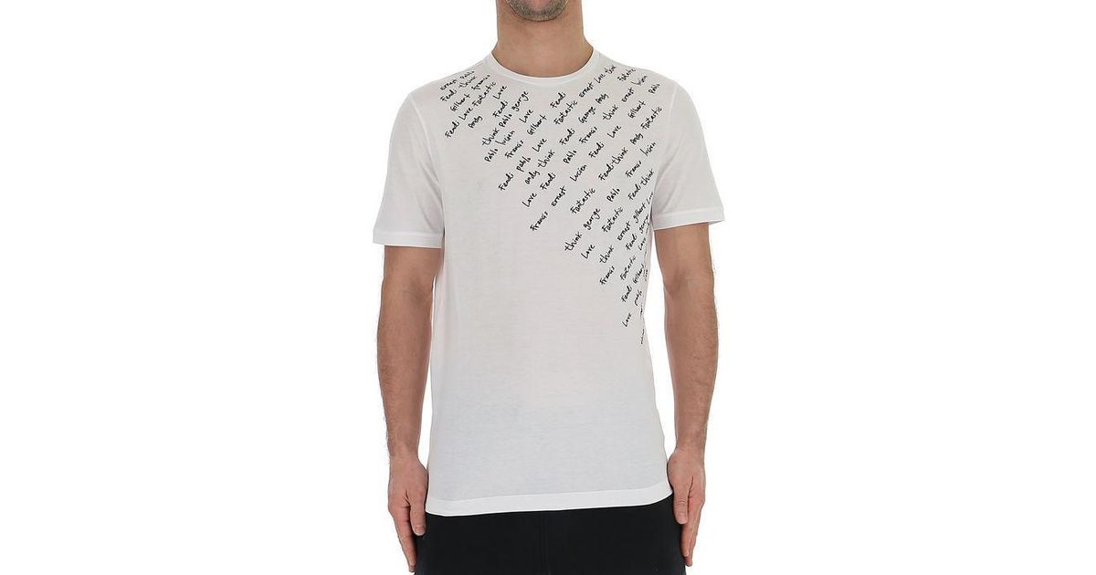 a788db6a Fendi Printed T-shirt in White for Men - Lyst