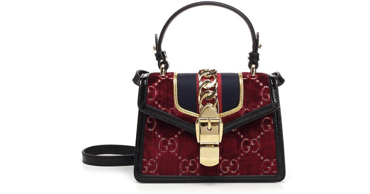 d5c41141b2d Gucci Sylvie Gg Velvet Mini Bag in Red - Lyst