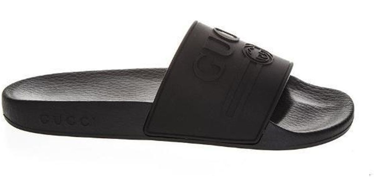 d393d79dfec Lyst - Gucci Logo Slides in Black