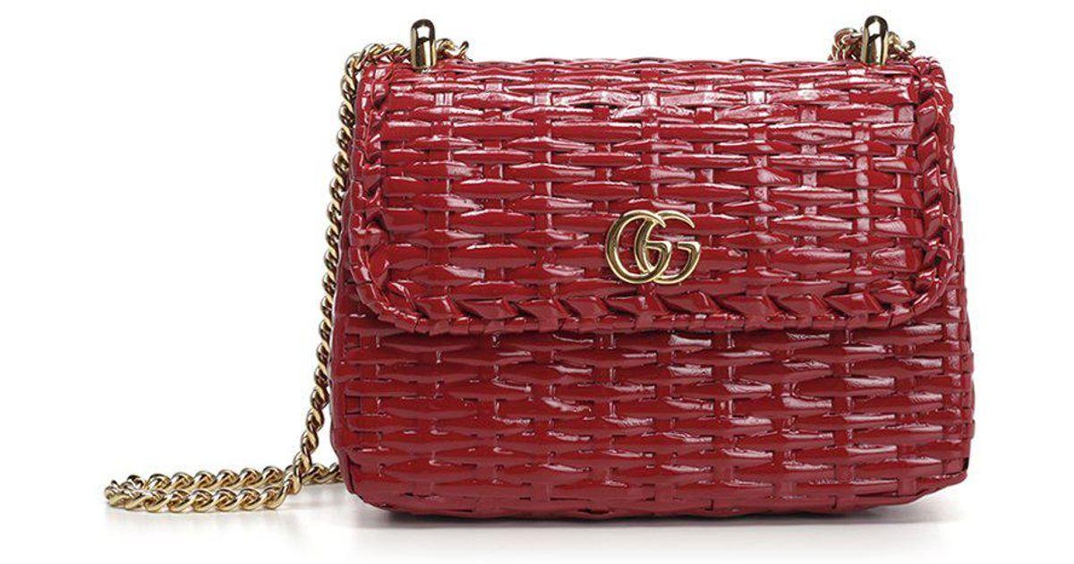 36249692b96 Lyst - Gucci Cestino Mini Shoulder Bag in Red