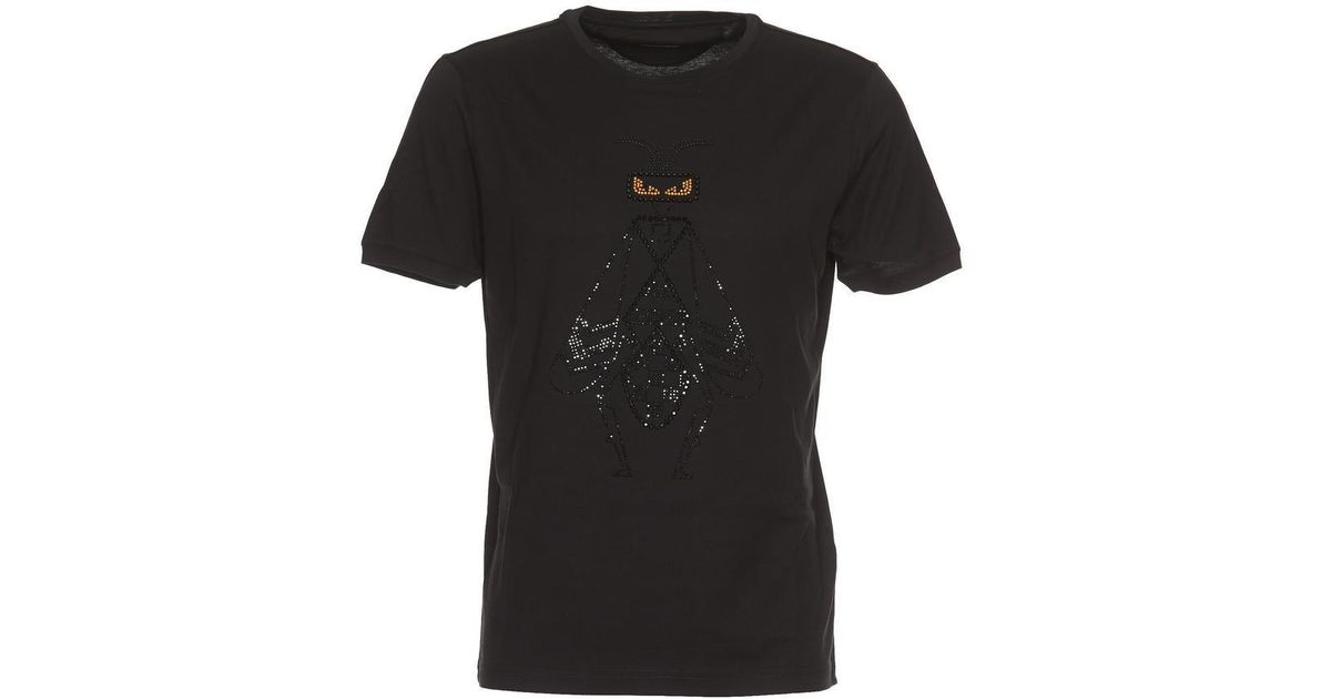 a66ae8b06 Fendi Embroidered Crystal Embellished Super Bugs T-shirts in Black for Men  - Lyst