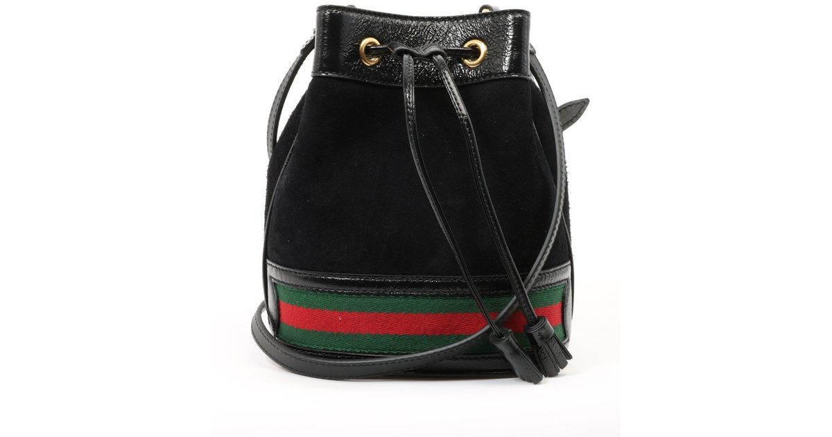 df7ee8f45c7 Gucci Stripe Bucket Bag in Black - Lyst