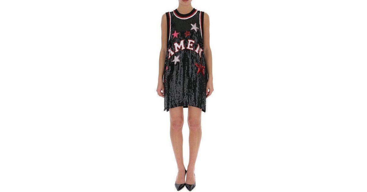 cec8c37a8ebc Amen Basketball Jersey Sequin Dress in Black - Lyst