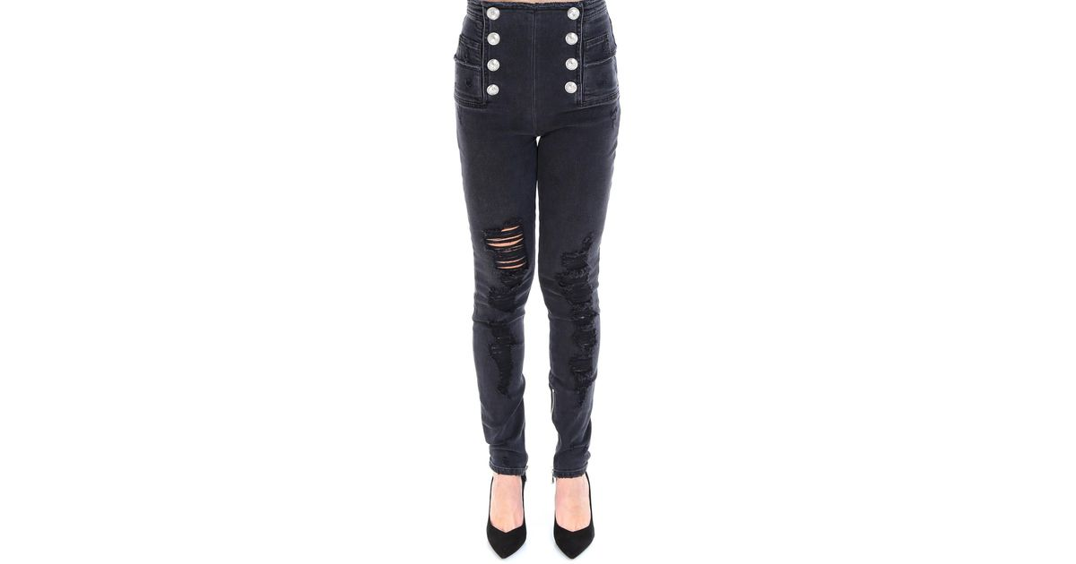 c94e5c6c Balmain High Waisted Button Distressed Jeans in Black - Lyst
