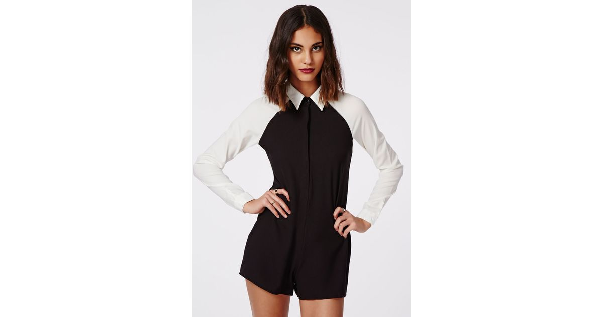 dab1716686a Lyst - Missguided Beatrina Contrast Tailored Playsuit In Monochrome in Black