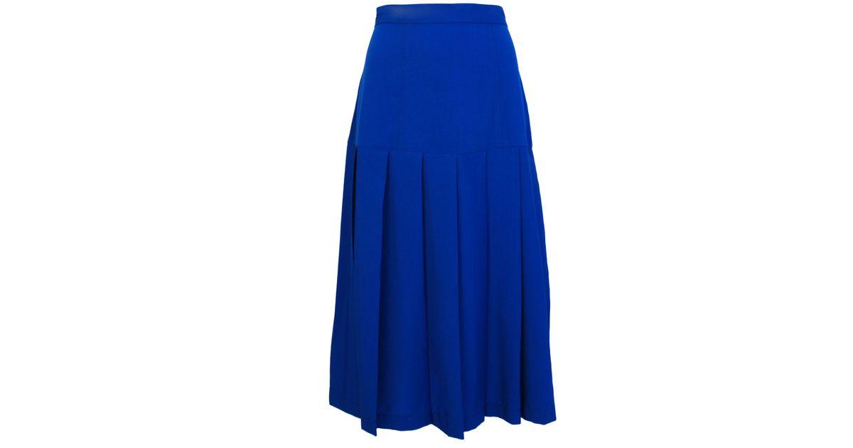 cutie pleated midi skirt in blue lyst