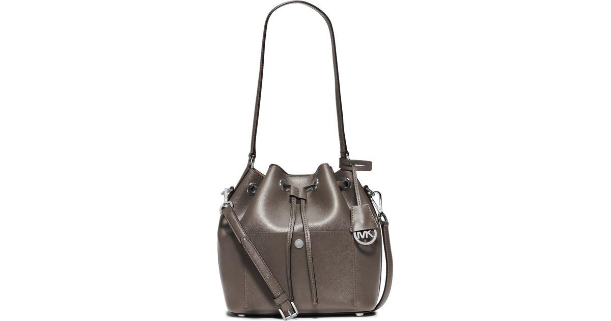 Lyst - Michael Kors Greenwich Medium Saffiano Leather Bucket Bag in Gray d1b227abb0a01