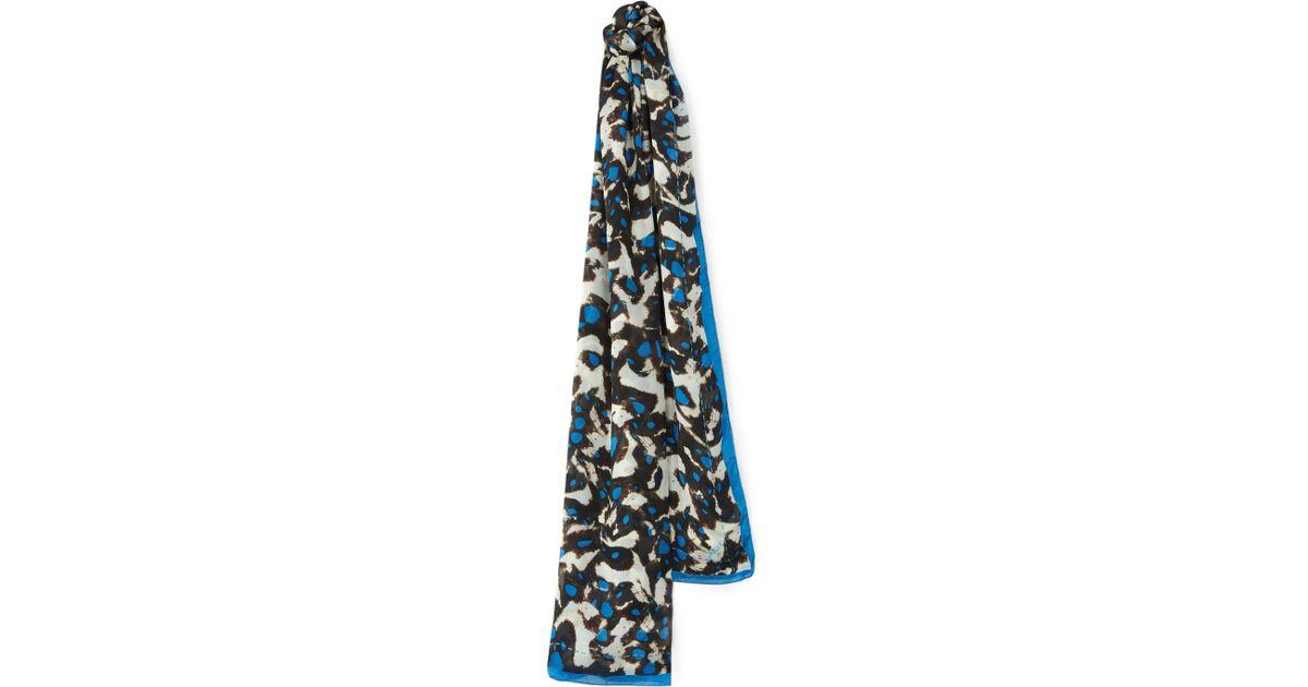 Jaeger Silk Animal Print Scarf in Blue