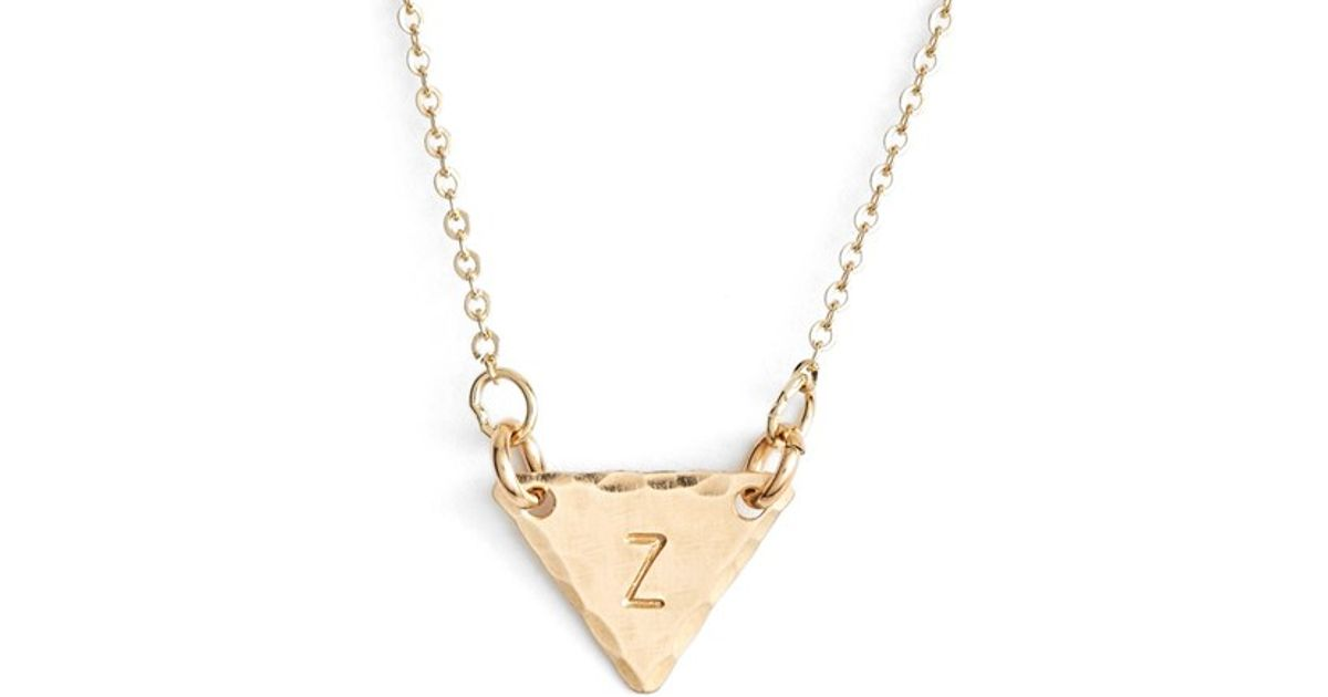 nashelle 14k gold fill initial triangle necklace in