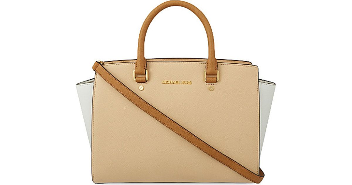 62e6efc9c6d7 ... usa michael michael kors selma large saffiano leather satchel bag in natural  lyst 75618 ba627