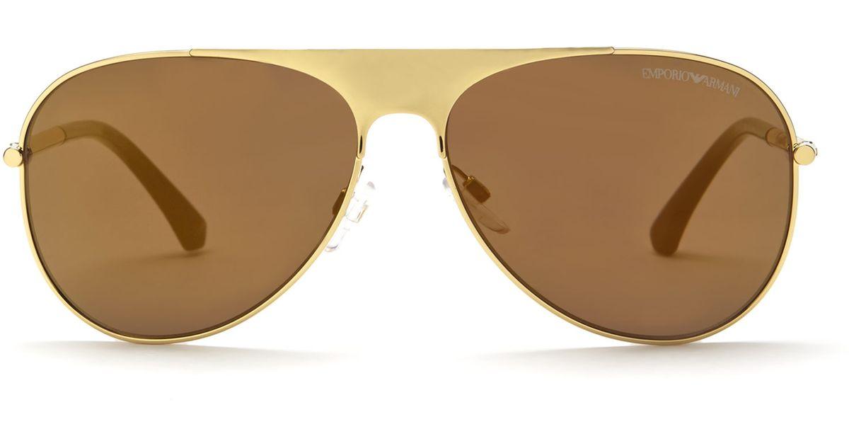 c254edc238d Lyst - Emporio Armani Gold-Tone Ea2003 Aviator Sunglasses in Natural for Men