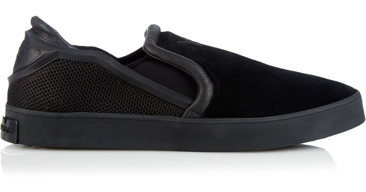 9cd8f1437 Y-3 Laver Suede And Rubber Slip-On Trainers in Black for Men - Lyst