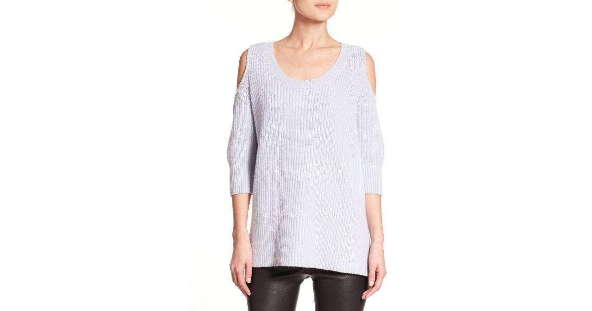 71ca565a3004 Lyst - Zoe Jordan Dias Wool   Cashmere Cold-shoulder Sweater in Blue
