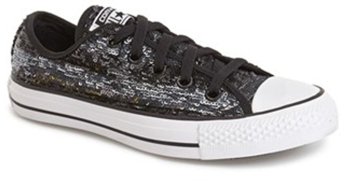 bf4aaded9df7 Lyst - Converse Chuck Taylor All Star  Sequin Flag  Low Top Sneaker in Black