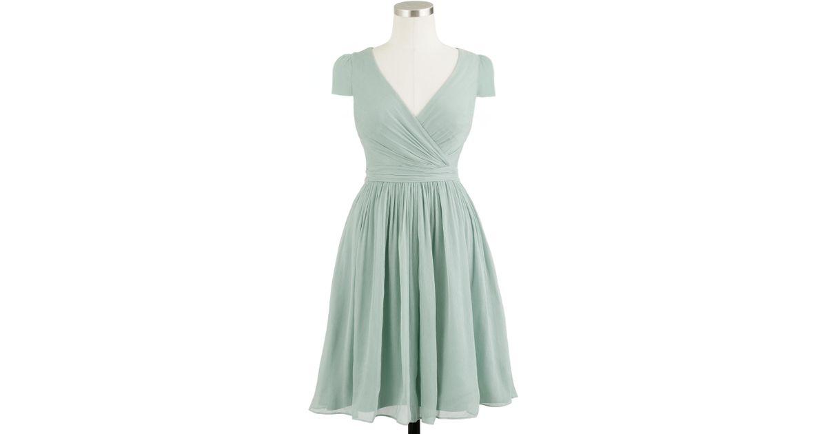 Lyst - J.Crew Petite Mirabelle Dress In Silk Chiffon in Gray